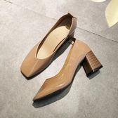 高跟鞋秋冬方頭粗跟單鞋女淺口中跟高跟鞋軟底舒適奶奶鞋上班工作鞋黑色