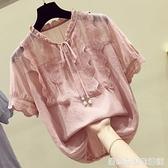 蕾絲拼接雪紡衫女夏季新款韓版寬鬆甜美洋氣小衫遮肚子上衣潮 聖誕節全館免運