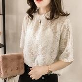 網紗T恤 歐洲站夏新款短袖女甜美蕾絲上衣修身顯瘦洋氣小衫流行雪紡衫 交換禮物