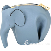 LOEWE Animales Elephant 立體大象造型拉鍊零錢包(石灰藍) 1620008-85