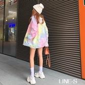 2020秋季新款韓版時尚扎染彩色漸變牛仔外套女寬松ins長袖上衣潮