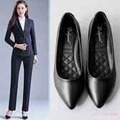 中大尺碼工作鞋 2019春季新款舒適職業女皮鞋黑色中跟粗跟尖頭淺口單鞋 DR10731【Rose中大尺碼】