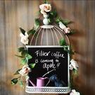 鄉村風格鐵藝挂式小黑板 創意鳥籠 家用留言板記事板 WIFI公告板 快速出貨