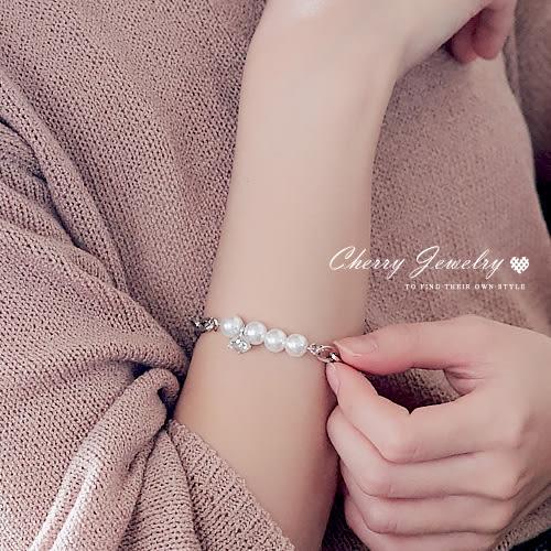 秀氣閃鑽珍珠造型手鍊  【櫻桃飾品】【10493】