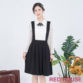 RED HOUSE-蕾赫斯-假兩件吊帶洋裝(黑色)