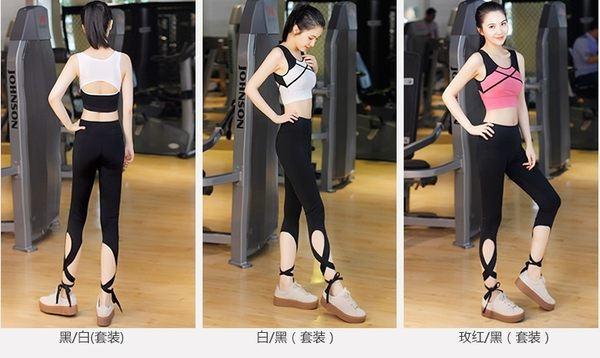 女士健身服夏季顯瘦瑜珈服韓版運動跑步服瑜伽服套裝- xby0015