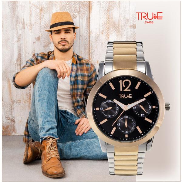 瑞士TRUeE  瑞時寶嘉 TC150138 BASEL熱銷帥氣男錶(黑)/43mm