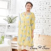【Tiara Tiara】百貨同步aw 繡球花排釦五分袖純棉洋裝(藍/黃)