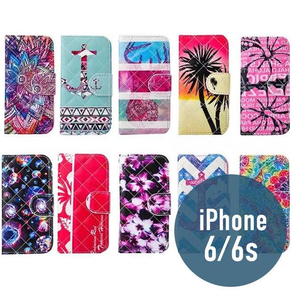 iPhone 6/6S 小羊皮彩繪皮套 插卡 支架 側翻皮套 錢包套 手機套 手機殼 保護套 配件