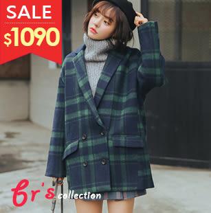 【brs】 外套 日系 短毛呢 藍綠格 寬版 學院風 雙排扣 大衣 現貨