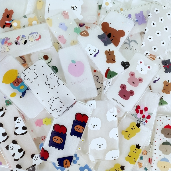 超值福袋 隨機2個 🍎 [ 韓國🇰🇷插畫款] iPhone 全型號 透明手機殼 泫雅花🌹軟糖熊🐻