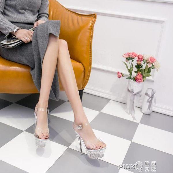 高跟涼鞋女夏2019新款性感水晶鞋14cm防水台細跟夜店模特走秀女鞋  【PINK Q】