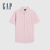 Gap男裝 通勤純棉輕薄短袖襯衫 695864-粉色條紋