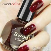 指甲油 酒紅色車厘子指甲油可剝持久不掉色無毒可撕拉豆沙 綠光森林