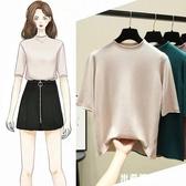 新款五分袖女短袖薄款冰絲針織半袖內搭秋季半高領打底衫中袖上衣 米希美衣