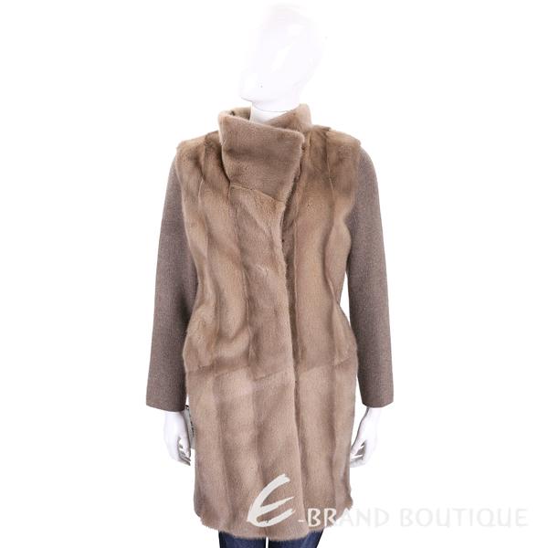 GRANDI furs 駝色針織拼接皮草外套(70%WOOL) 1710176-02
