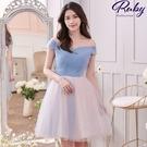 洋裝 一字領水鑽網紗馬甲禮服洋裝-Ruby s 露比午茶
