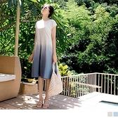 《DA7801-》高含棉下襬百褶漸層短袖洋裝 OB嚴選