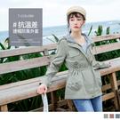 《EA2926-》多彩純色輕防潑水縮腰防風條紋連帽外套 OB嚴選