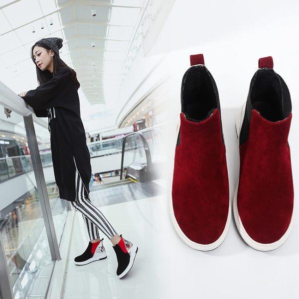 丁果、情侶鞋35-44►簡約絨皮拼色平底短靴*2色