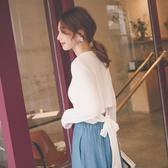 MUMU【T13467】韓妞必備。後腰綁帶造型長袖上衣。三色