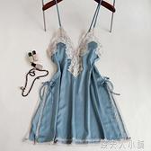 吊帶睡裙薄款冰絲性感蕾絲邊大碼露背開叉新款女錢夫人小鋪