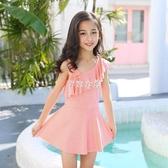 兒童泳衣 6-10歲新款韓國女童小孩寶寶連體泳衣中童兒童泳裝女泳衣 紓困振興