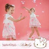 洋裝 Hello Kitty x Ruby 聯名款-美背碎花印花假兩件短袖洋裝(童)-Ruby s 露比午茶