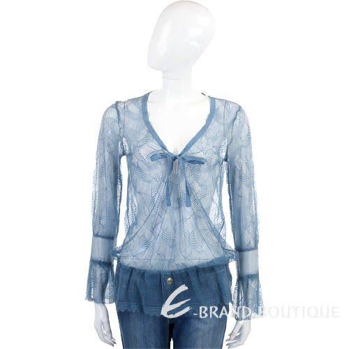 Kristina Ti 水藍色網狀蕾絲長袖上衣 0730203-23
