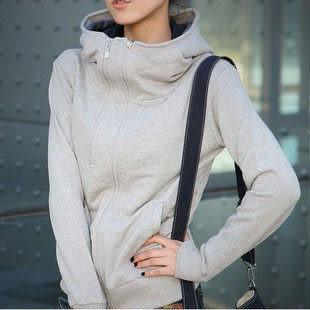 秋冬新款 韓版時尚加厚雙拉鏈立領長袖外套