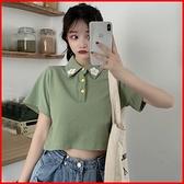 韓國風短袖T恤 繡花露臍短款短袖上衣T恤女 依多多