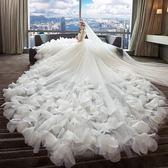 輕婚紗禮服新娘2018新款一字肩韓式顯瘦簡約公主夢幻齊地長拖尾 WE2115【東京衣社】