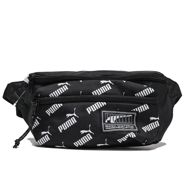 PUMA 黑 白LOGO 滿版 腰包 小腰包 側背包 (布魯克林) 07585525