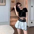 一套 短袖T恤女 2021年 新款 夏季 設計感 小眾綁帶 打底衫 修身 短款 網紅上衣短褲