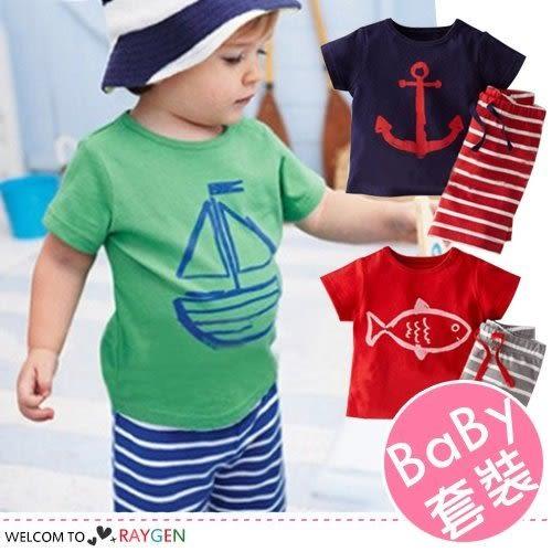 兒童卡通船錨印花短袖T恤+五分褲 套裝