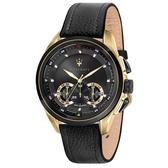 【台南 時代鐘錶 MASERATI】台灣公司貨 瑪莎拉蒂 Traguardo系列 R8871612033 經典三眼計時腕錶 黑/金