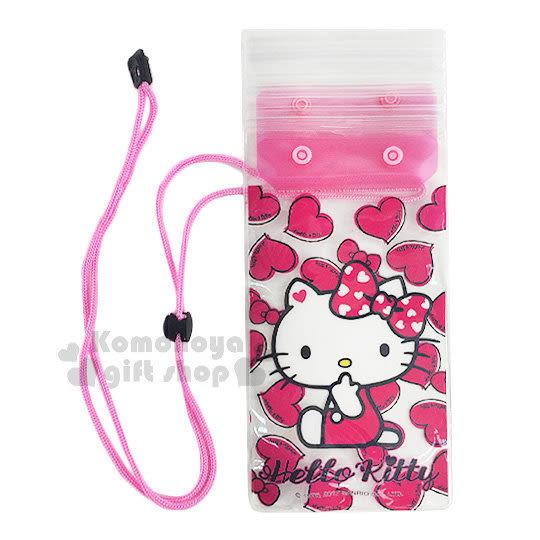 〔小禮堂〕Hello Kitty 防水手機袋《桃紅.透明.愛心滿版.側坐》附頸掛繩 7035170-40004