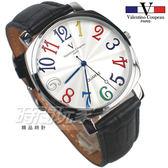 valentino coupeau范倫鐵諾 方圓數字時尚錶 防水手錶 真皮 黑 男錶 V61601CW黑大