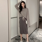 兩件式.韓國雜誌款條紋長袖上衣+修身抽繩半身窄裙.白鳥麗子