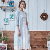 【Tiara Tiara】蕾絲針織葉紋五分袖綁帶罩衫(藏青/淡綠)
