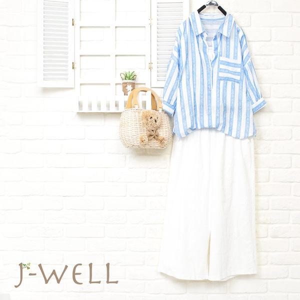 J-WELL 雙色寬條舒適好感上衣寬褲二件組 (組合899 8J1507藍+8J1503白)