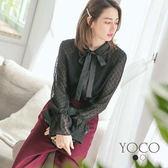 東京著衣【YOCO】輕甜美人點點雪紡蝴蝶結上衣-S.M.L(172410)