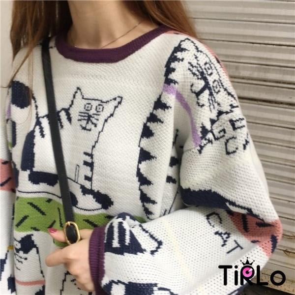 針織衫-Tirlo-日系滿滿貓咪針織衫-一色(現+追加預計5-7工作天出貨)