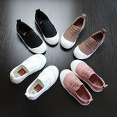 兒童帆布鞋男女童一腳蹬懶人童鞋男童布鞋2018春秋款黑白色帆布鞋