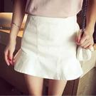 魚尾裙 高腰包臀荷葉花邊魚尾半身裙女夏季純色裙子A字短裙百搭顯瘦褲裙-Ballet朵朵