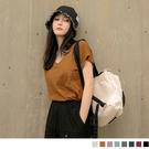 《AB3034》純色V領竹節棉挖洞造型短袖上衣--適 XL~5L OrangeBear