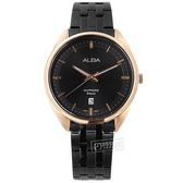 ALBA / VJ42-X303SD.AS9L04X1 / 簡約紳士 藍寶石水晶玻璃 日期 不鏽鋼手錶 黑x鍍玫瑰金框 41mm