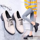 英倫風小皮鞋女2020秋季新款百搭粗跟高跟日系jk鞋子學生黑色單鞋  聖誕節免運