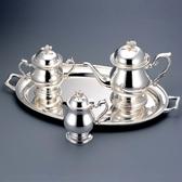 日本銀壺【銀川堂 下午茶壺組】日本製 VIP洋白銀器禮盒 洋銀製銀壺 銀糖罐銀奶盅銀托盤