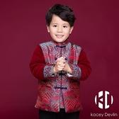 兒童紅色唐裝男童中國風棉衣過年拜年服寶寶周歲新年衣服【Kacey Devlin】